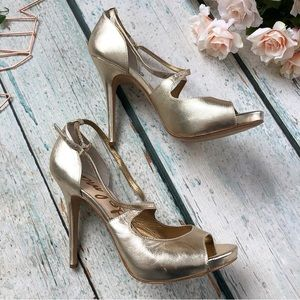 Sam Edelman 10M gold strap heels wedding leather